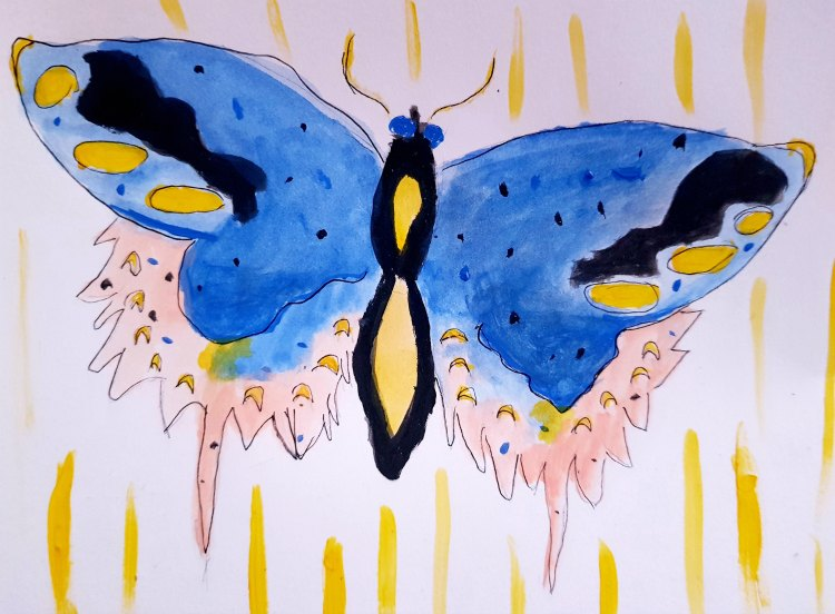 Butterfly watercolor made using the book The Creature Garden. Learn how to draw, see how this book can help you DearCreatives.com