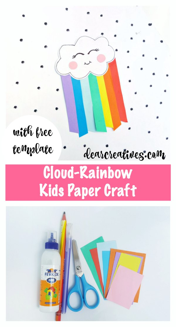 Cloud Rainbow Kids Paper Craft With Free Template Easy To Make Crafts