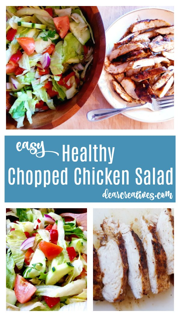 Easy Chicken Salad Recipe made with chopped lettuce, avocados, tomatoes, cucumber...topped with chicken. Grab this under 30 minute meal at DearCreatives.com #chickensalad #chicken #salad #recipes #chickensaladrecipe #healthy #lunch #dinner #30minutemeal