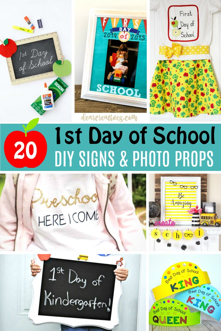 20 First Day of School Signs, DIY and Photo Props