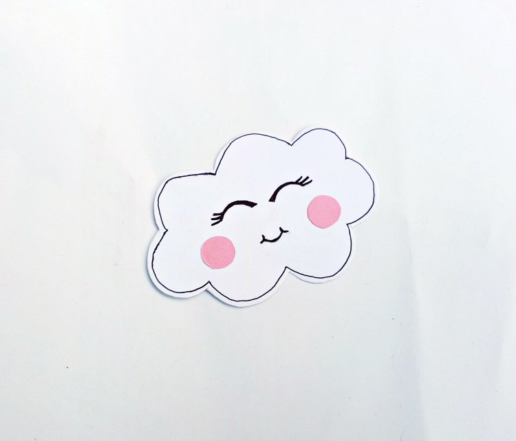 step (3) glue pink circles (dots) one to each cheek of the cloud. DearCreatives.com