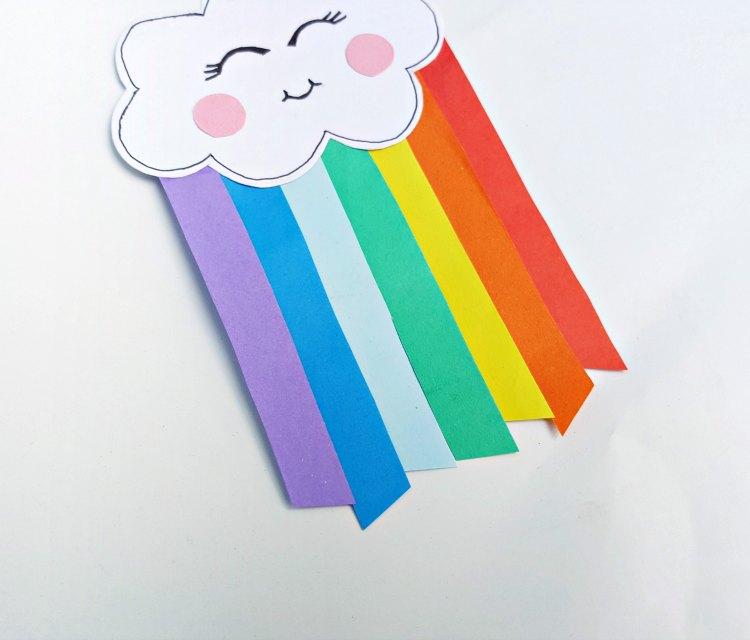 step (8) bottom of rainbow paper cut at a diagonal DearCreatives.com