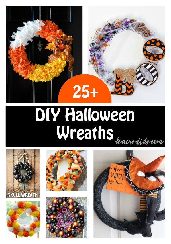 25+ DIY Halloween Wreaths to make for your home's decor or porch. These are easy to make Halloween Wreaths with tutorials. You'll be whipping one up in no time with these Halloween ideas. See them all at DearCreatives.com #halloween #wreaths #diy #tutorial #frontdoor #porch #halloween #halloweenwreaths #halloweendecor