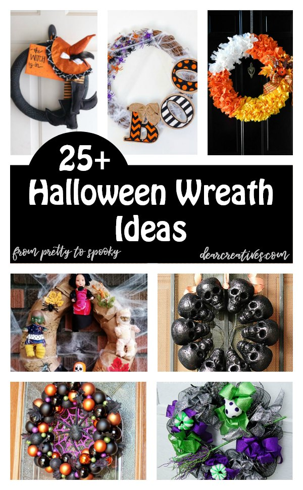 25+ Halloween Wreaths - Are you looking for Halloween decorating ideas? Make any of these Halloween wreath ideas for your home or porch. From pretty wreaths to spooky wreaths. The list is growing! See how to make a Halloween wreath DearCreatives.com #Halloween #wreaths #Halloweenideas #Halloweencrafts #crafts #diy
