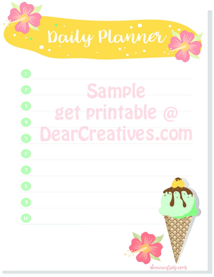 Cute Summery Daily Planner Printable (FREE)