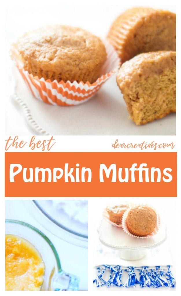 Pumpkin Muffins - The best pumpkin muffins - This is the only recipe you will need for moist, tasty muffins that turn out perfectly. #pumpkinmuffins #recipe DearCreatives.com