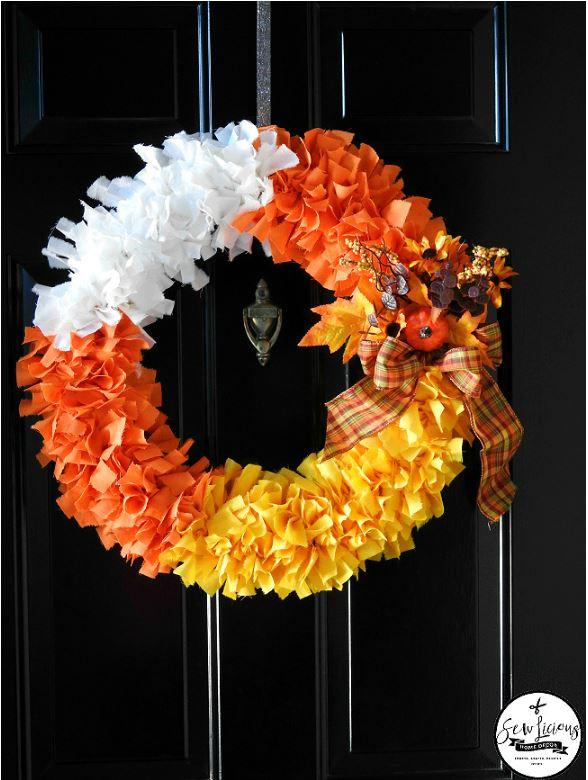 candy corn fabric wreath via sewlicioushomedecor