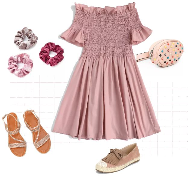 rose color pleated dress, sandals or slip on shoes, scrunchies, and a bum pack
