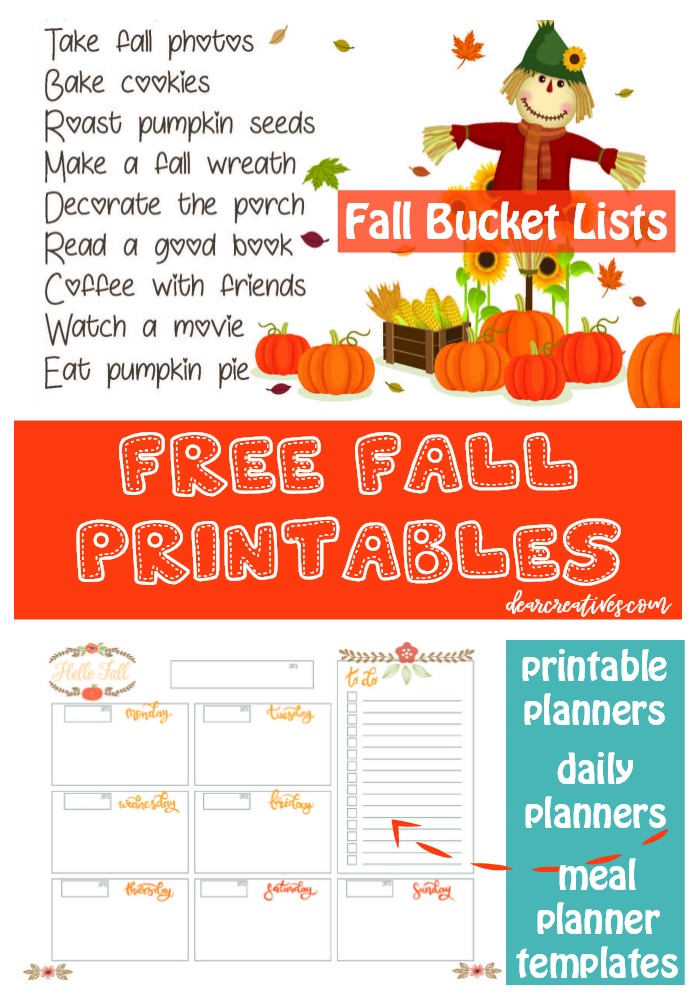Free Printable Bucket List of Ideas for Fall + More Free Printables