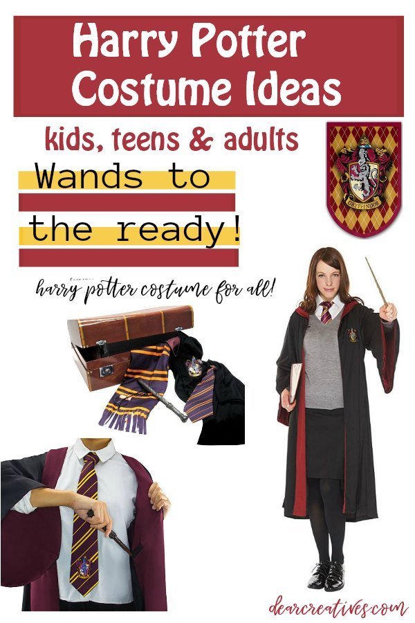 Harry Potter Costume Ideas for kids, teens and adults. DIY your Harry Potter costume and more Halloween ideas. DearCreatives.com #halloweencostumes #harrypotter #costumes #harrypottercostumes #potterheads