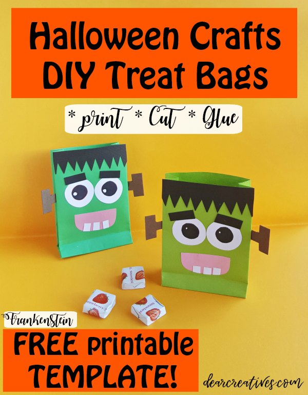 Halloween crafts - print, cut, and glue so easy to make these DIY Halloween treat bags with FREE TEMPLATE DearCreatives.com #halloweencrafts #halloweenparty #kidsactivities #kidscrafts #treatbags #freetemplate #freeprintable #frankenstein