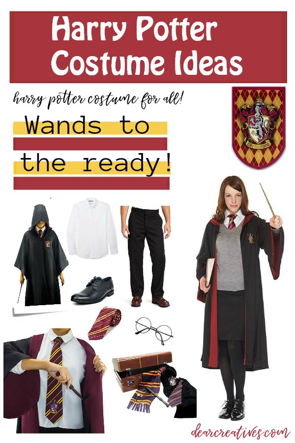 Harry Potter Costumes - Harry Potter costumes for men, boys and women and girls. see all the ideas to help them to make these costumes quick and easily! DearCreatives.com #Halloween #costumes #costumeideas #halloweencostumes #diy DearCreatives.com