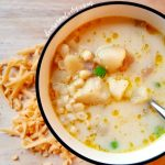 Are you ready to make soup? Potato Corn Chowder is a hit with the family. You need to try this soup recipe. DearCreatives.com #potatocornchowder #soup #vegetarian #souprecipes #soup #vegetarian #potato #chowder