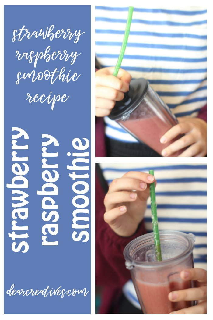 Strawberry Raspberry Smoothie Recipe. This is a quick and easy recipe that can be made with fresh or frozen fruit, and can be made non dairy by omitting the yogurt. Really good for on the go, mornings, snack time or lunch. DearCreatives.com #smoothie #recipe #smoothierecipe #easy #fruit #quick