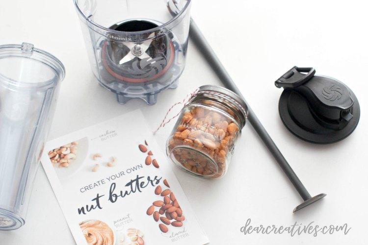 blender, nuts, scraper for blending nut butter blending peanut butter at home DearCreatives.com