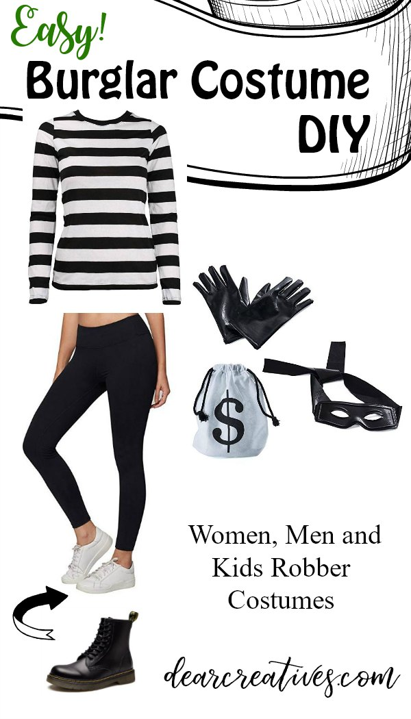 Bank Robber Costume - Cat Burglar Costume. You probably have a lot of pieces already which makes this costume perfect for last minute costume ideas. See how easy it is to make this prisoner costume. There are so many costume ideas besides this one you have to see them all! #halloweencostumes #costumeideas #costumes #lastminutecostumes #nosewcostumes #quickandeasycostumes #burglar #catburglar #robber #dearcreatives