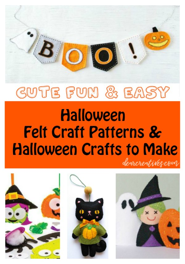 Cute, fun and easy Halloween felt craft patterns and Halloween crafts to make Dearcreatives.com #crafts #halloween #feltcrafts #felt #patterns #halloweencrafts