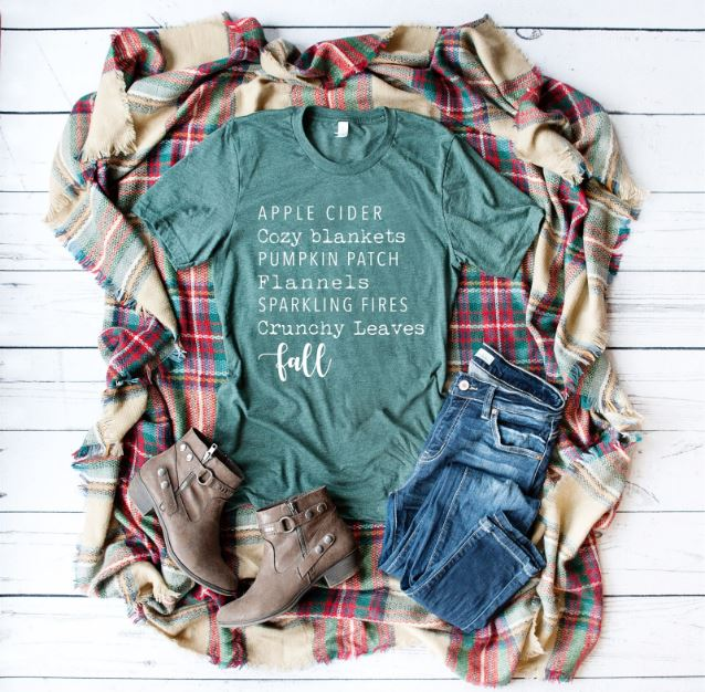 Fall Tee Shirt Apple Cider Cozy Blankets Pumpkin Patch...Fall Graphic Tees in 15 Designs