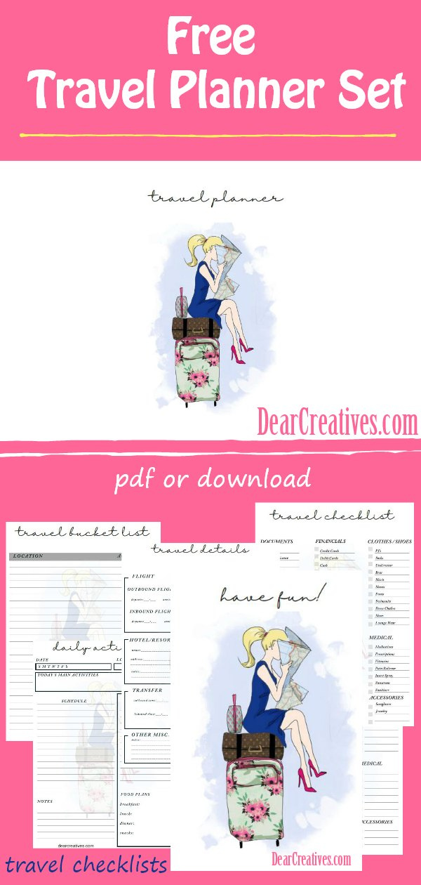 Do you need a travel planner? We have a free travel planner printable. A 7 page travel checklist printable. Printable PDF or downloadable perfect for making travel plans. This free printable comes with template sheets for all your travel details from flights, hotel, travel checklist, itinerary details, packing, daily log.... A must have for making your vacation or travel so much easier! DearCreatives.com #travelplanner #travelchecklist #freeprintables #itinerary #printable #travelplannertemplate