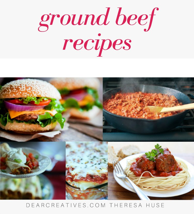 Ground Beef Recipes - These are easy dinner ideas you can make any night of the week. Quick ground beef recipes and make ahead recipes. DearCreatives.com #groundbeefrecipes #groundbeef #recipes