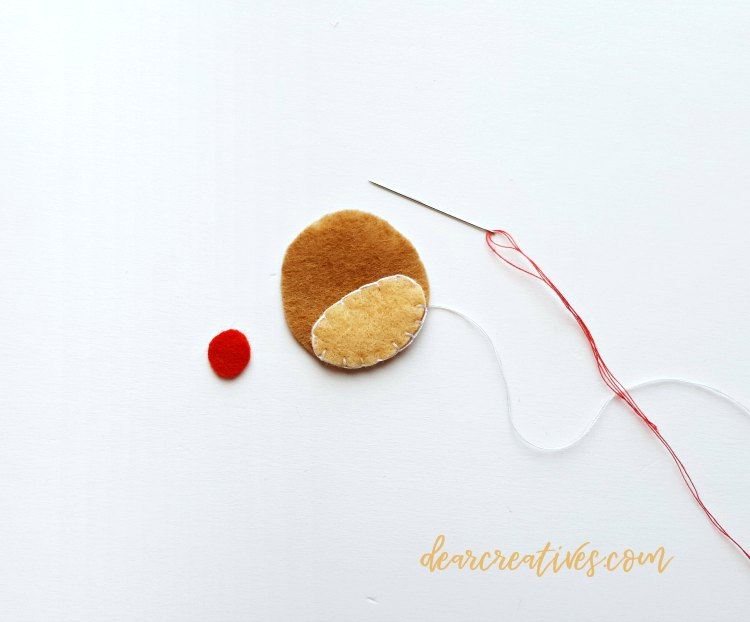 Step 1 for making the felt reindeer. sewing with embroidery thread. DearCreatives.com