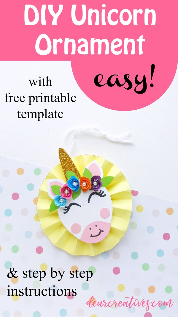 DIY Unicorn Ornament-With Free Unicorn Ornament Template
