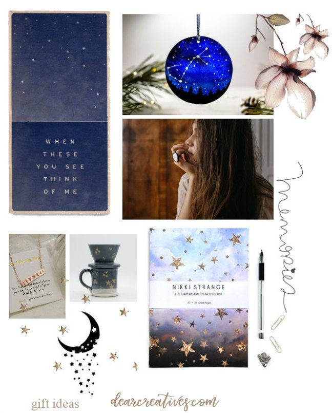gift ideas - celestial - galaxy gift ideas dearcratives.com #stars #celestial #galaxy #gifts #giftideas #giftsforher #christmas #birtdaygifts #christmasgifts #dearcreatives