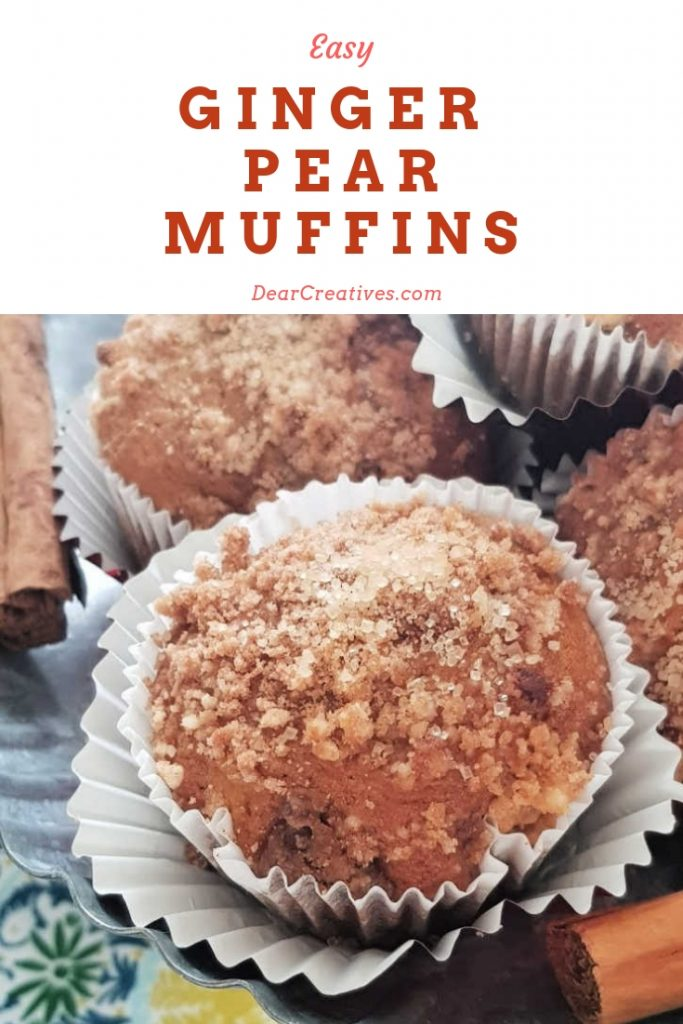 Ginger Pear Muffins - Warm up your home with the smells of a delicious ginger muffins recipe that is easy to make and will fly off the serving dish. With the pears is so yum! #gingermuffins #gingerpearmuffins #muffinsrecipe #bakingrecipes #dearcreatives