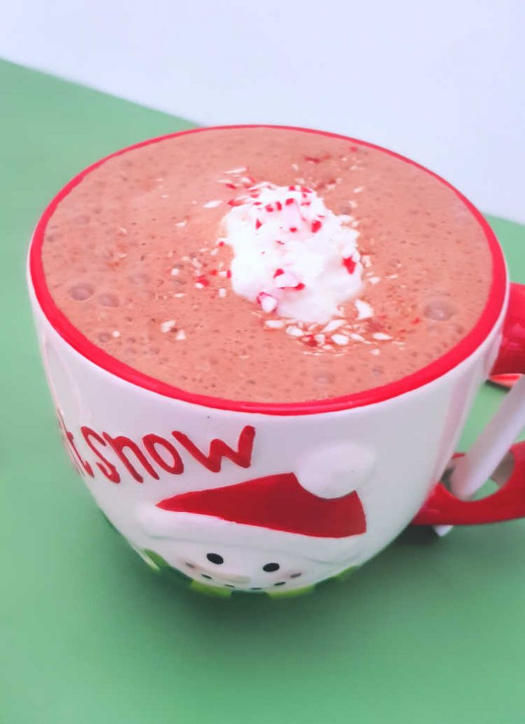 Homemade hot chocolate made with homemade whip cream and peppermint. Easy Peppermint Hot Chocolate recipe. Dearcreatives.com