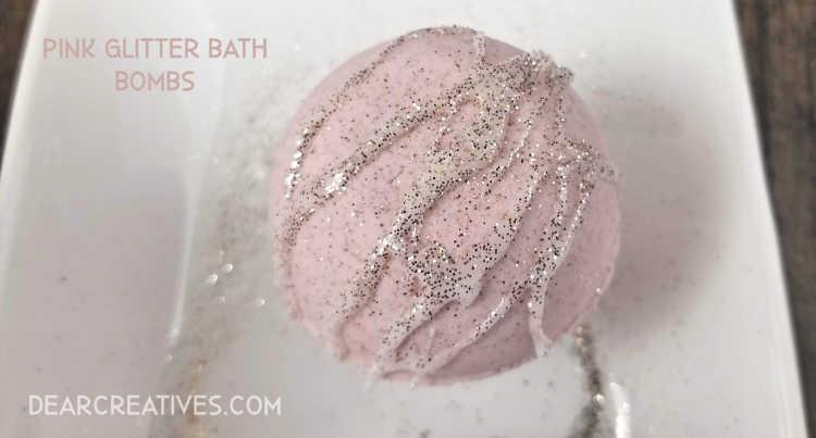 Pink Champagne Bath Bombs DearCreatives.com #pink #glitter #champagne #beauty #diy #dearcreatives