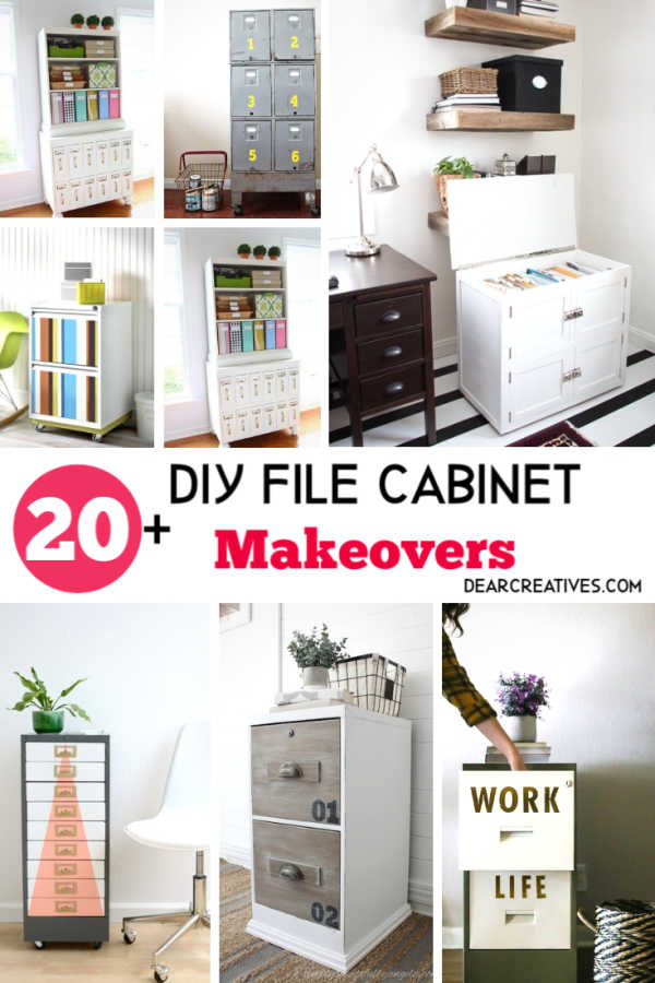 DIY File Cabinet- 20 DIY File Cabinet Makeovers that will inspire you to design and make over a file cabinet! DearCreatives.com #diyfilecabinets #makeovers #furnituremakeovers #office #upcycle #designs #howto #inspiring #decor #homedecor #officedecor #taxseason
