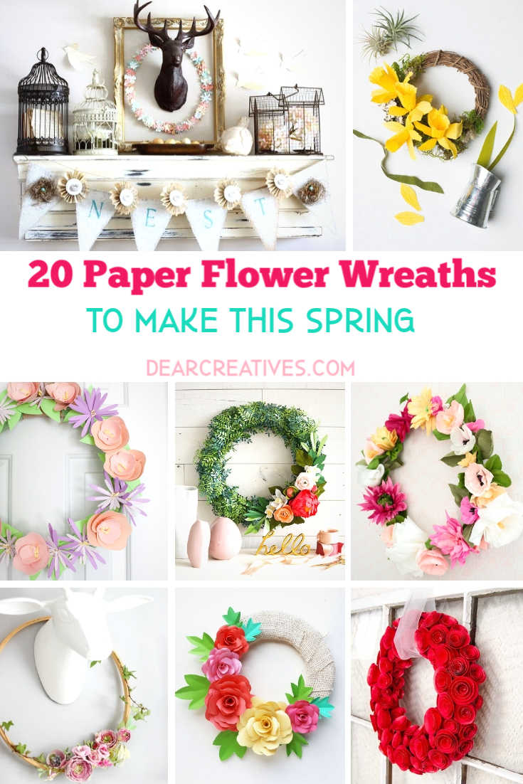 DIY Spring Wreaths - Paper Flower Wreaths To Try This Spring DearCreatives.com #diyspringwreaths #springwreaths #easterwreaths #wreathmaking #diywreaths #paperflowerwreaths #springcraftideas #springcrafts #dearcreatives