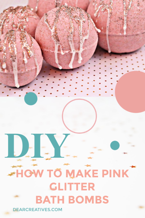 How to make bath bombs - Pink Glitter Bath Bombs Recipe is perfect for making as a gift or Make and Relax in a hot bath! #DIY #bathbombsrecipe #pink #glitter #relax #beauty #beautydiy #dearcreatives