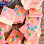 Strawberry Fudge With Sweethearts How to make strawberry fudge. DearCreatives.com #strawberryfudge #howtomakefudge #candymaking #recipe #treatrecipe