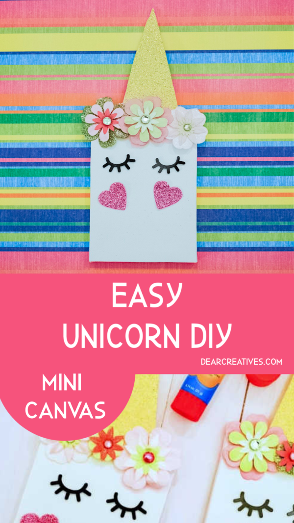 Unicorn Craft - Easy to whip up mini unicorn canvas. Cut, glue, sticker kids activity or craft for kids. This can be an adult craft too if you are looking for a quick and easy party favor or gift for a unicorn lover- DearCreatives.com #unicorncraft #unicorndiy #kidscrafts #unicorns #partyfavor #canvas #easy #quick #dearcreatives