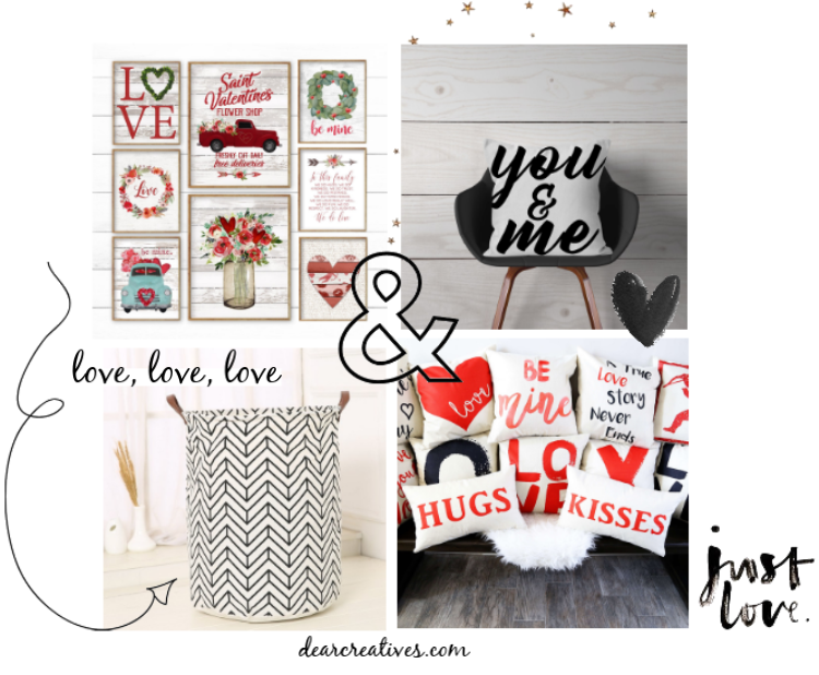 Valentine's Day Decor Ideas - Valentines Day Prints, Throw pillows, hearts, arrows, cute and romantic decorating ideas for Valentine's Day. DearCreatives.com