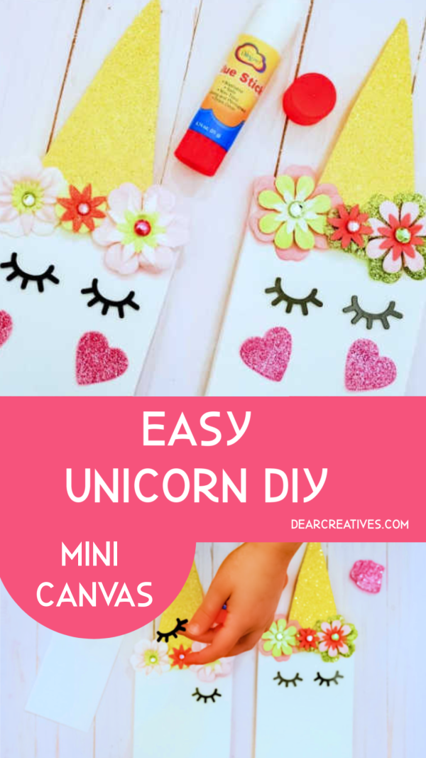 unicorn diy this is an easy unicorn craft project that kids can make. Use it for a kids party, kids activity...The end result is a mini canvas that they can hang as room decor. DearCreatives.com #unicorndiy #unicorncrafts #kidscrafts #kidsactivities #kidsparty #unicornroomdecor