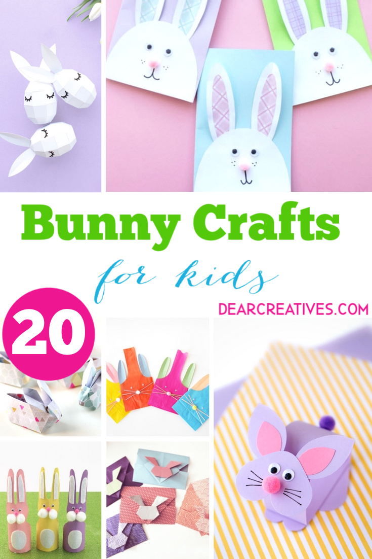 Bunny Crafts - Easter kids crafts that are easily made with paper. Have fun making any of these cute bunny crafts. #bunnycrafts #craftsforkids #easterkidscrafts #kidspapercrafts #cute #fun #easy #kidscrafts #kidsactivities #dearcreatives
