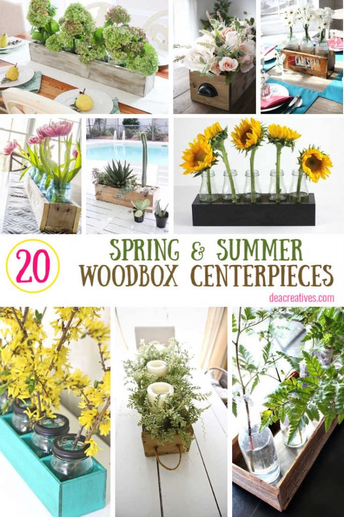 Table Centerpiece ideas- Use these decor ideas for your tables, side tables, events or celebrations. Easy to make with vases and rustic wood boxes. Decorate your home for spring or summer with these ideas. Easy to swap out flowers and plants for other seasons. DearCreatives.com #centerpieces #centerpieceideas #tablecenterpieces #tablescapes #woodenflowerboxcenterpieces #diy #homedecordiys #dearcreatives