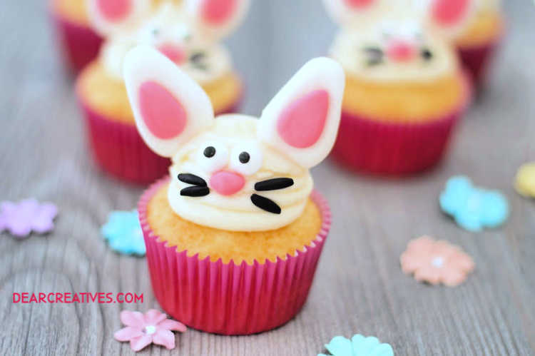 Easter cupcakes decorated like bunny faces. See diy bunny cupcakes at DearCreatives.com