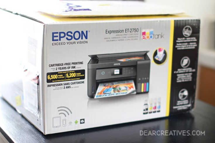 Epson Printer in the box unopened Epson Printer -Expression ET-2750 © 2019 Theresa Huse DearCreatives.com
