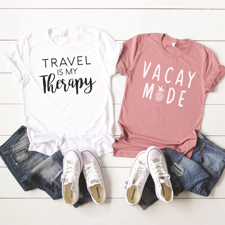 Pair your tee shirts with vacation saying and stylish jeans. DearCreatives.com #springoutfits #travel #vacay #springbreak #womensfashions