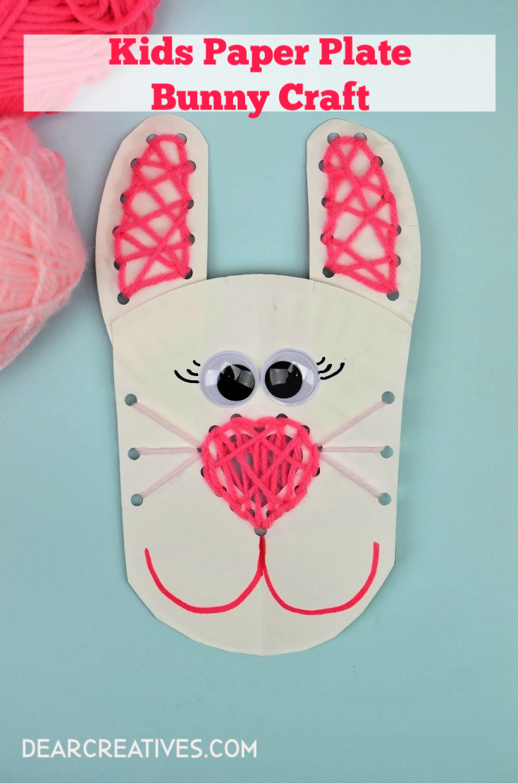 Paper Plate Bunny Craft With Lacing Activity for Kids