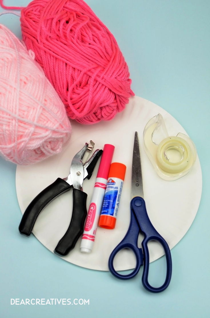 Paper Plate Craft Supplies for making a Paper Plate Bunny kids activity. DearCreatives.com