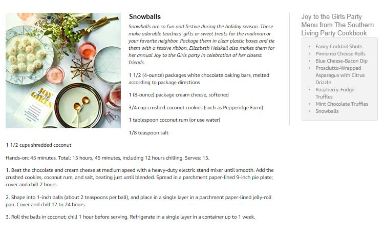 Snowballs Recipe from The Southern Living Party Cookbook
