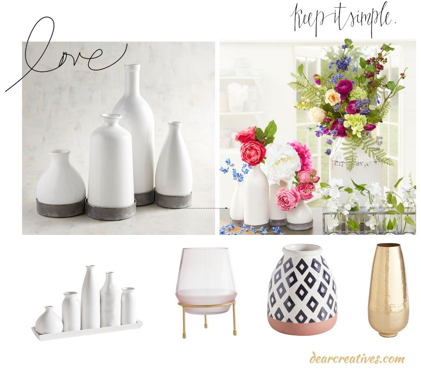 Vases for styling and Vases for Centerpieces how to style flowers in vases. DearCreatives.com