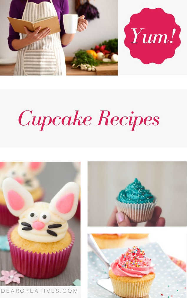 Cupcake Recipes - Do you enjoy making cupcakes from scratch_ Find easy to make recipes and cupcake making hacks and tips. This resource is always being added to. DearCreatives.com #cupcakerecipes #cupcakes #baking #recipes