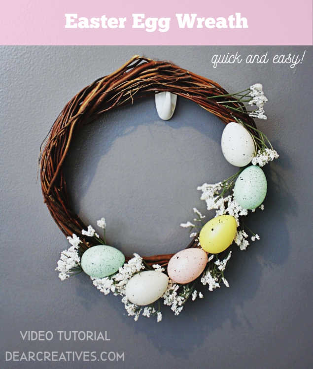 Easter Egg Wreath made to hang on the door or in a room for spring decorations. Video tutorial at DearCreatives.com #eastereggwreath #easterwreath #springwreathideas #springwreaths #springdecorations #diydecor #dearcreatives
