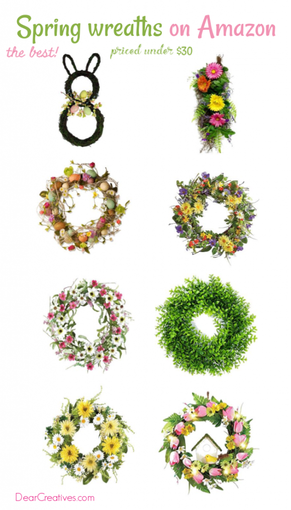 Spring Wreaths on Amazon - if you are looking for pretty wreaths for spring, Easter and summer. You need to see this list. DearCreatives.com #wreaths #wreathstobuy #spring #easter #summer
