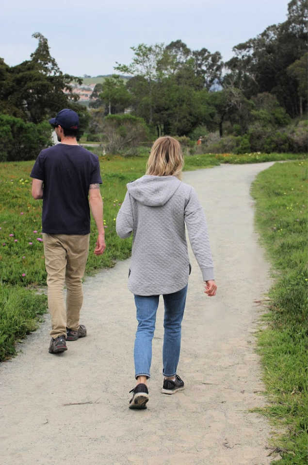 healthy lifestyle two people walking on a trail DearCreatives.com